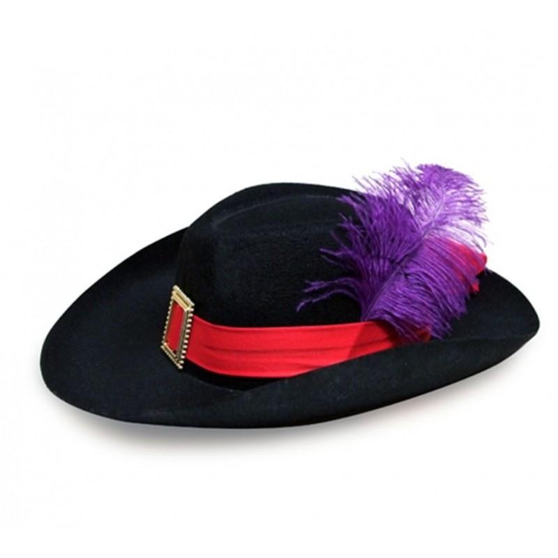 Compre sombrero mosquetero fieltro negro en Dobar Disfraces y recíbalo en  24 48 horas en su domicilio. a767e73b25e